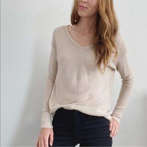 LOFT Beige Knit Pullover V Neck Sweater